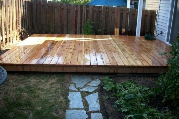 long low level deck framing | Ground level cedar deck | Backyard ...