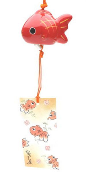 Japanese Red Lucky Goldfish Gold Fish Porcelain Furin Wind Chime Made In Japan Japanese Wind Chimes Wind Chimes Crafts