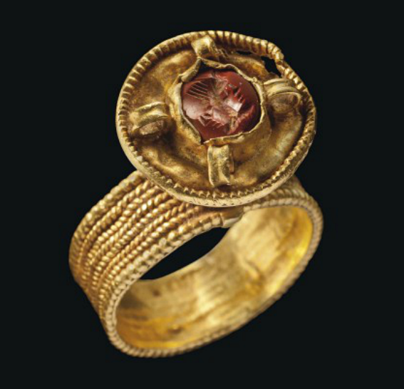 A BYZANTINE GOLD RING WITH ROMAN JASPER INTAGLIO   CIRCA 6TH-7TH CENTURY A.D. AND 1ST CENTURY A.D.