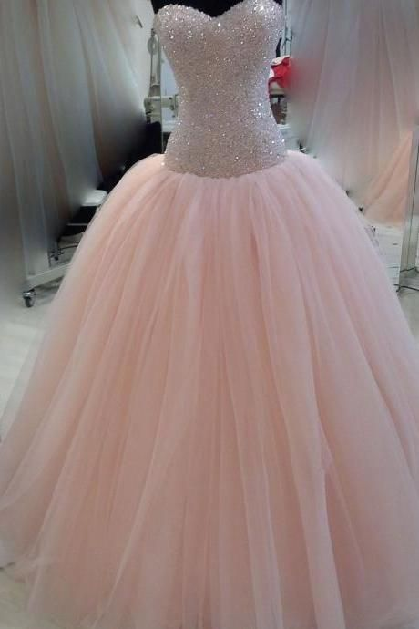 Modest Pink Quinceanera Dresses Sweetheart Beaded Bowknot Tulle Puffy Prom  Formal Ball Gowns Custom 5c8951877b01