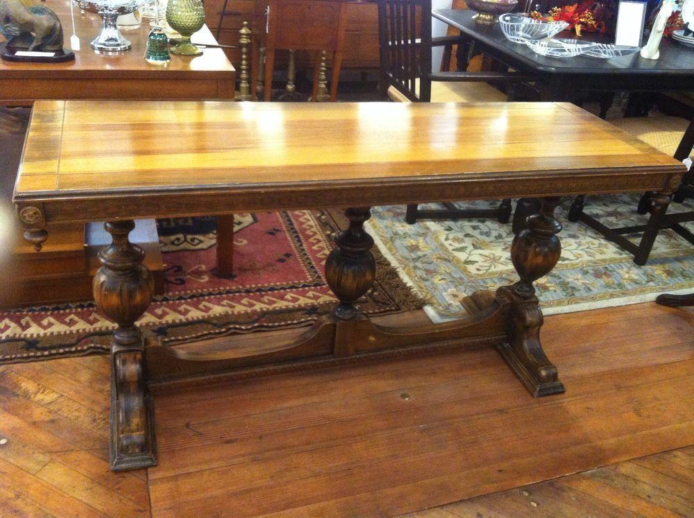 Antique Early 1900u0027s Pedestal Console Table Poplar Wood Sideboard