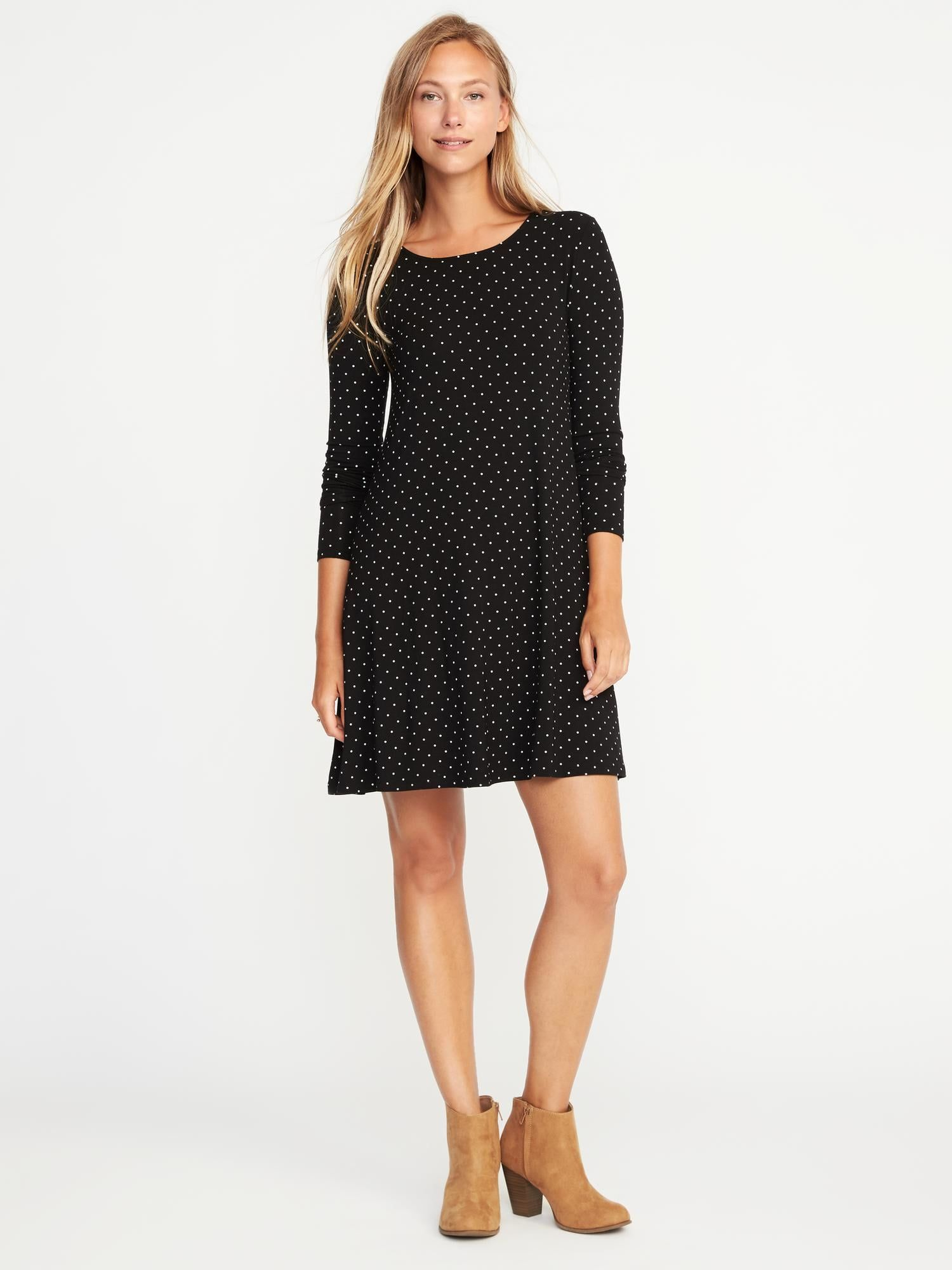 Old Navy Jersey Knit Swing Dress 30 Shade Black Dots