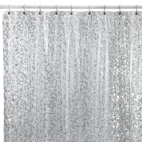 Pebbles Silver 72 Inch X Vinyl Shower Curtain