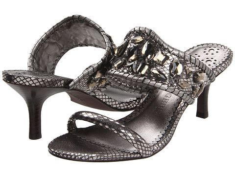6672fd1ed01 Jack Rogers Lara Jewel Kitten Heels with Snake-print leather and Radiant  stone embellishments adorn