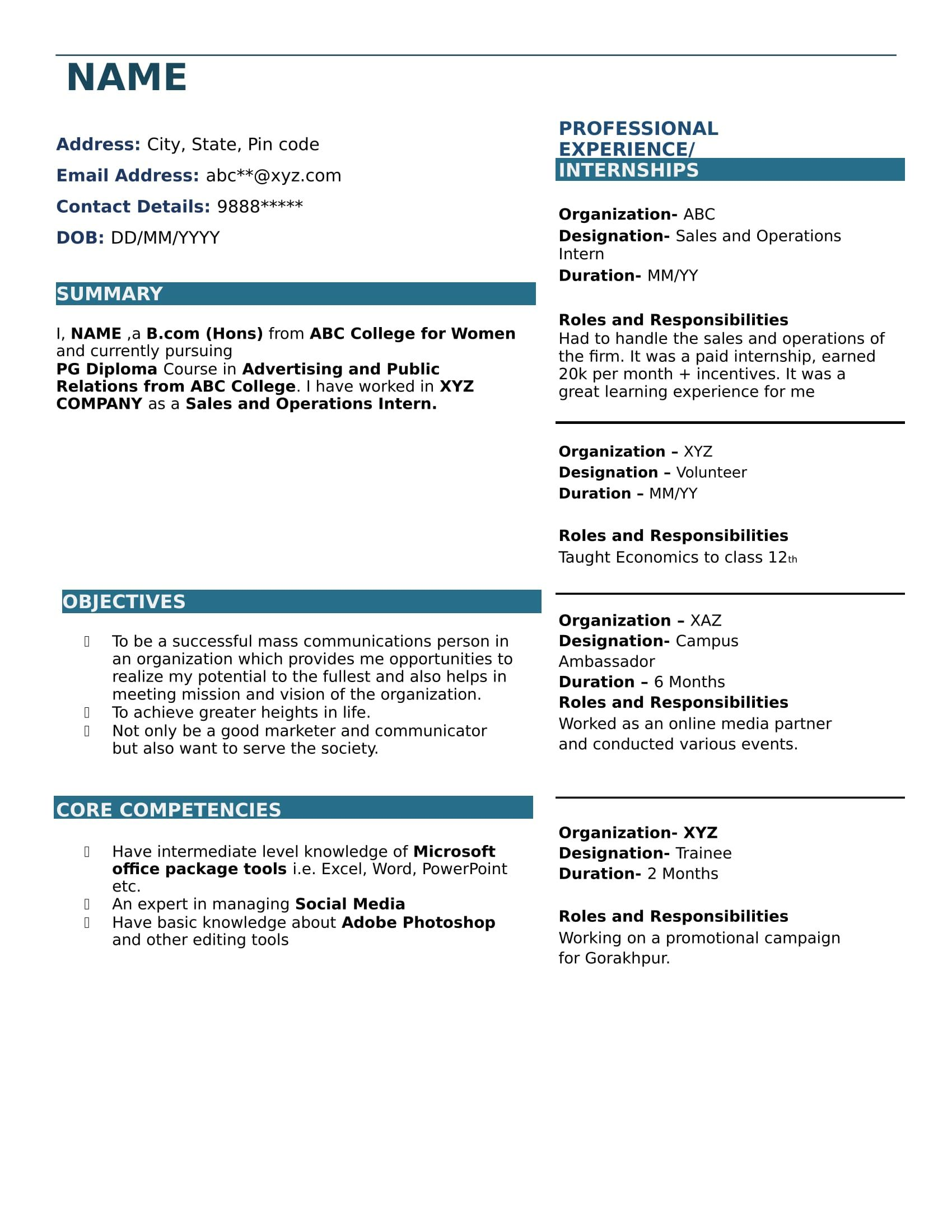 Resume Templates For Freshers Download Free Amazing