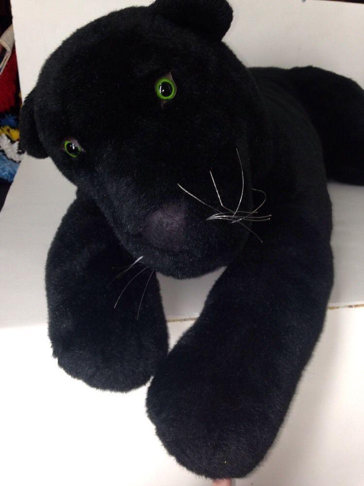 Black Cat Jaguar Stuffed Animal Large Plush Auora 36 91 5 Cm Lying