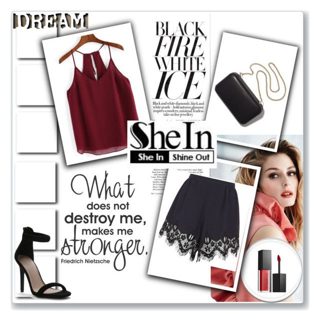 """""""Contest - Shein"""" by dinna-mehic ❤ liked on Polyvore featuring Gabor, Chloé, Smashbox and Clare V."""