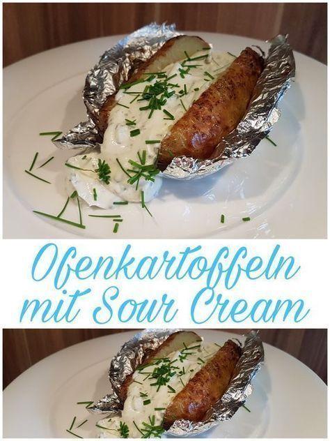 Ofenkartoffel, Folienkartoffel, Kartoffel, Sour Cream, saure Sahne, lecker Essen, Kochen, Rezepte, Food, sourcream #grilledsteakmarinades