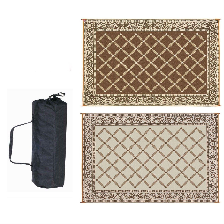 9 X 12 FT Reversible Outdoor Area Rug Patio Mat In Brown U0026 Beige