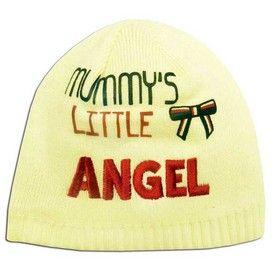 'Mummy's Little Angel' beanie hat in cream £3.99