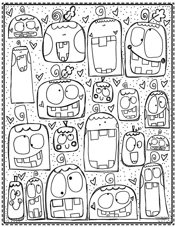 Silly pumpkin coloring page #fallcolors