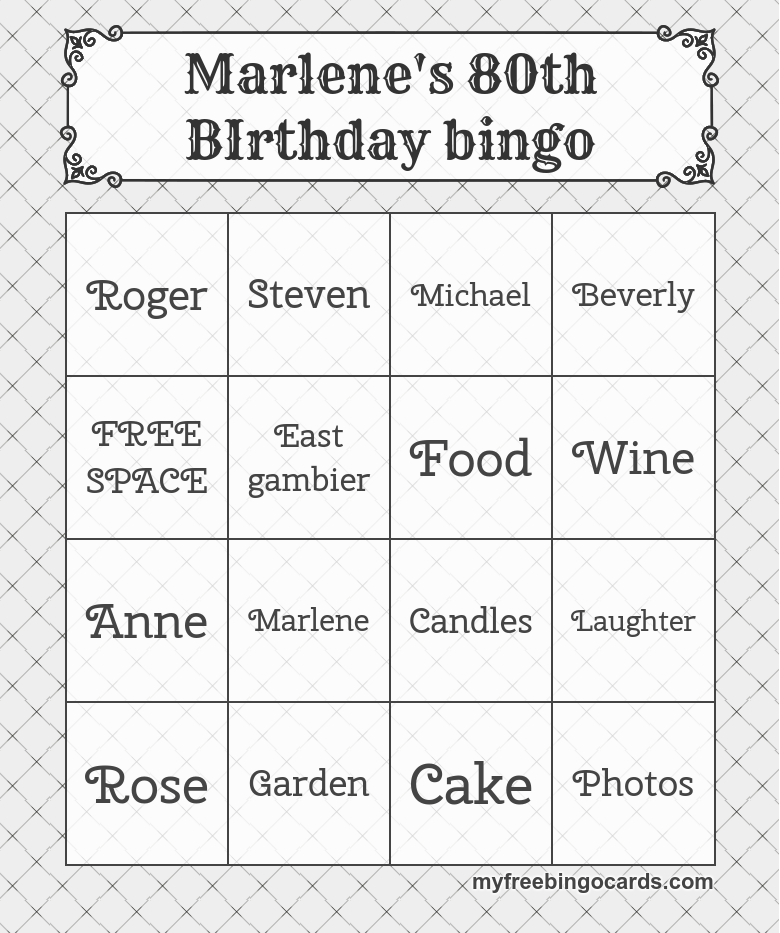 photograph regarding Free Printable 90th Birthday Invitations named Absolutely free Printable Bingo Playing cards Bash Options inside of 2019 80th