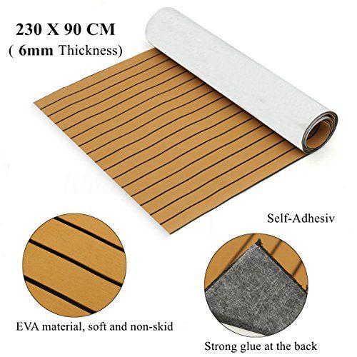 Mophorn 90 5 X 35 Inch Eva Foam Faux Teak Decking Sheet Non Slippery Self Adhesion Decking Sheet For Rv Swimming Pool Garde Marine Flooring Strongest Glue Deck