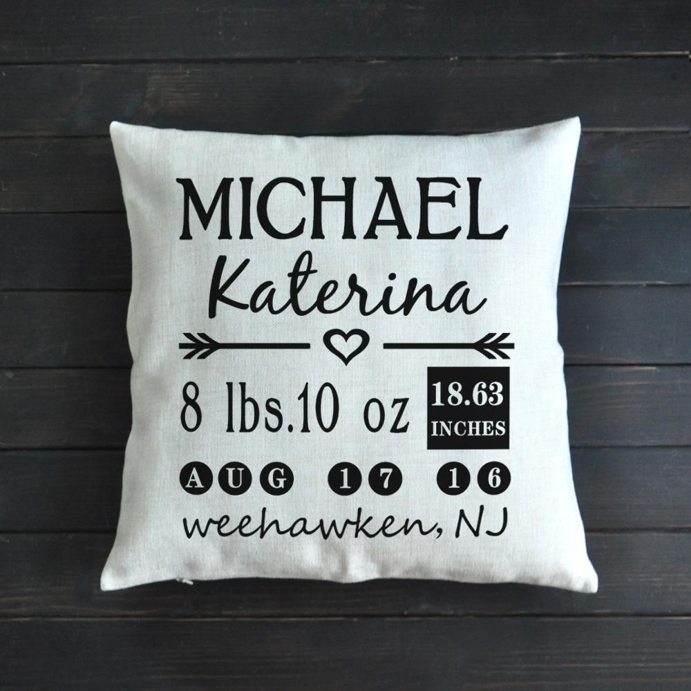Personalized baby birth announcement pillow baby birth personalized baby birth announcement pillow negle Images