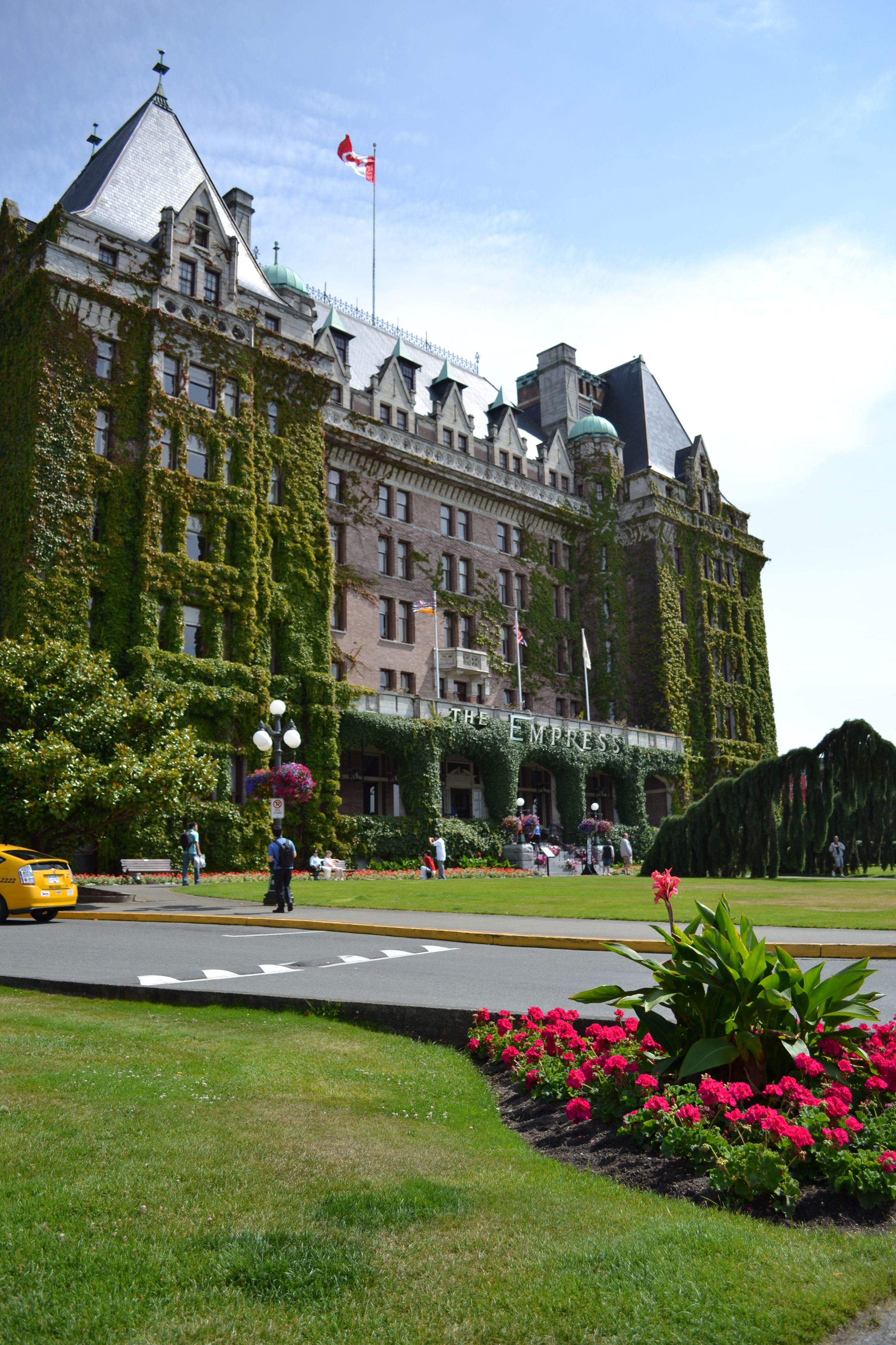 The Empress Hotel, Victoria, British Columbia. This hotel serves a formal high tea every afternoon and it's delicious:)