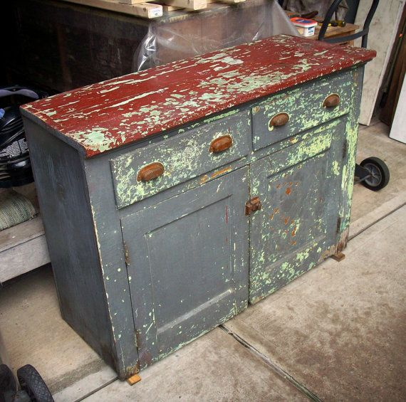 Painted Wood Furniture And Cabinets: Vintage Painted Wood Cabinet / Heavily Distressed / Layers