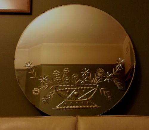 Large Art Deco Vintage Round Mirror Etched Pie Crust Retro