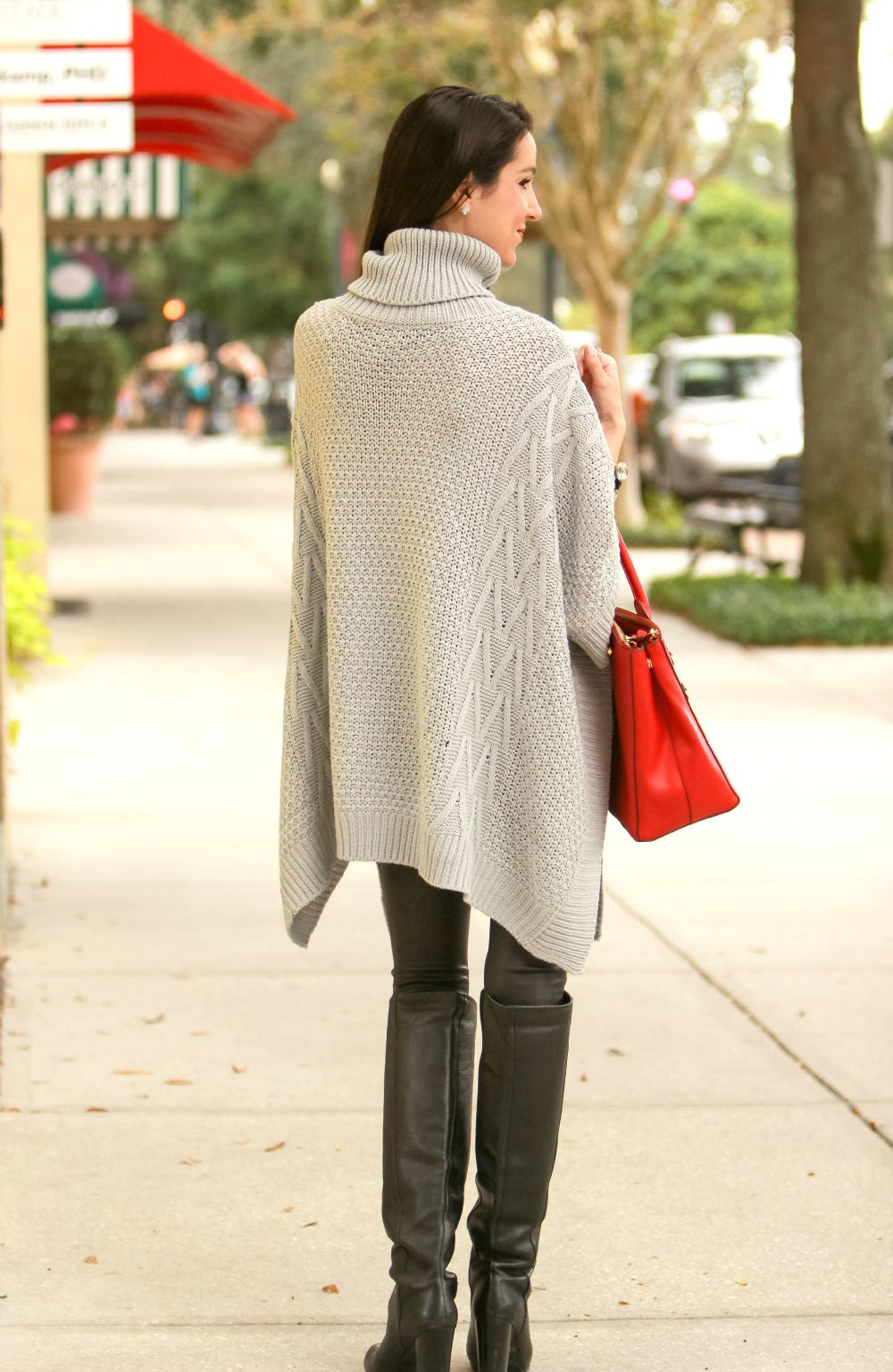 bundled in blankets  oversized gray poncho sweater