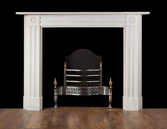 A White Statuary Marble Fireplace After A Regency Original