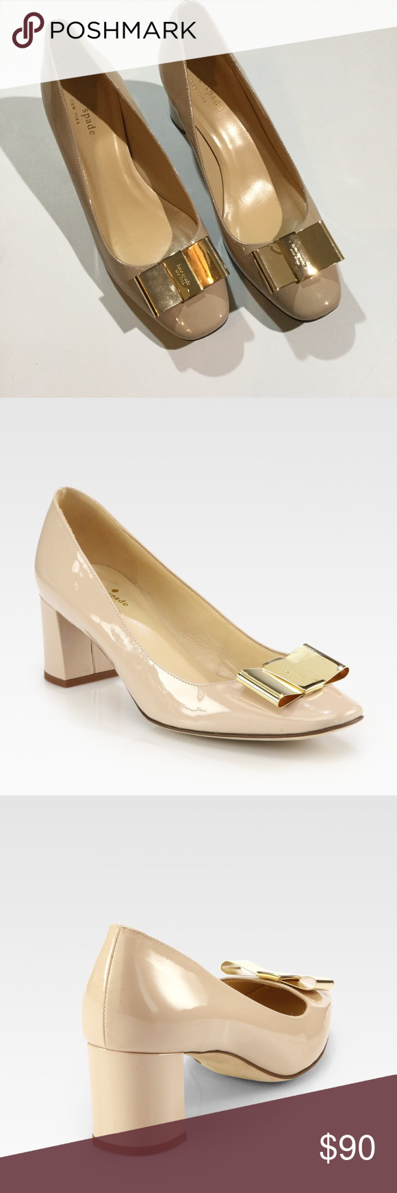 e37d3256d04 Kate Spade Sz 7 Pink Dijon Patent Leather Gold Bow Kate Spade Womens Sz 7  Pink Dijon Patent Leather Gold Bow Block Heels Pumps Nude Condition  Pre  owned ...