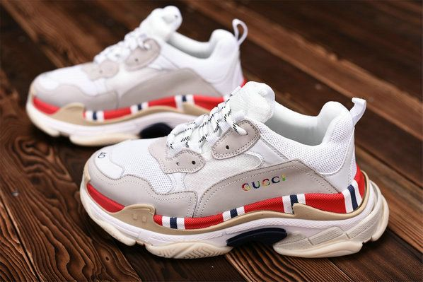 690d9f2e574 Gucci x Balenciaga Triple S 490653W06F18000 White Grey Red Sneaker  Balenciaga For Sale Big Boys Youth Jeunesse Shoes