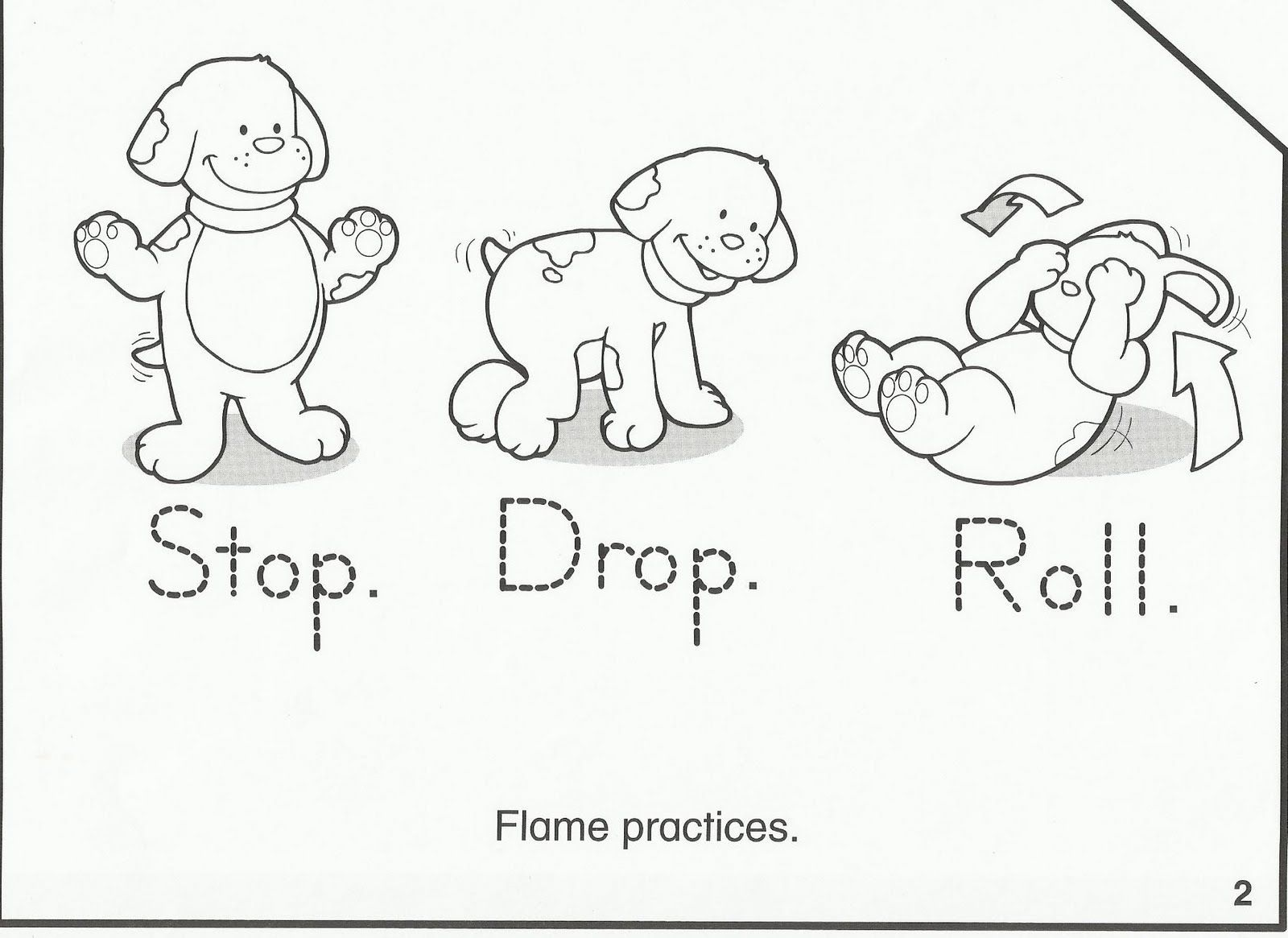 This is a graphic of Gutsy Stop Drop And Roll Coloring Page