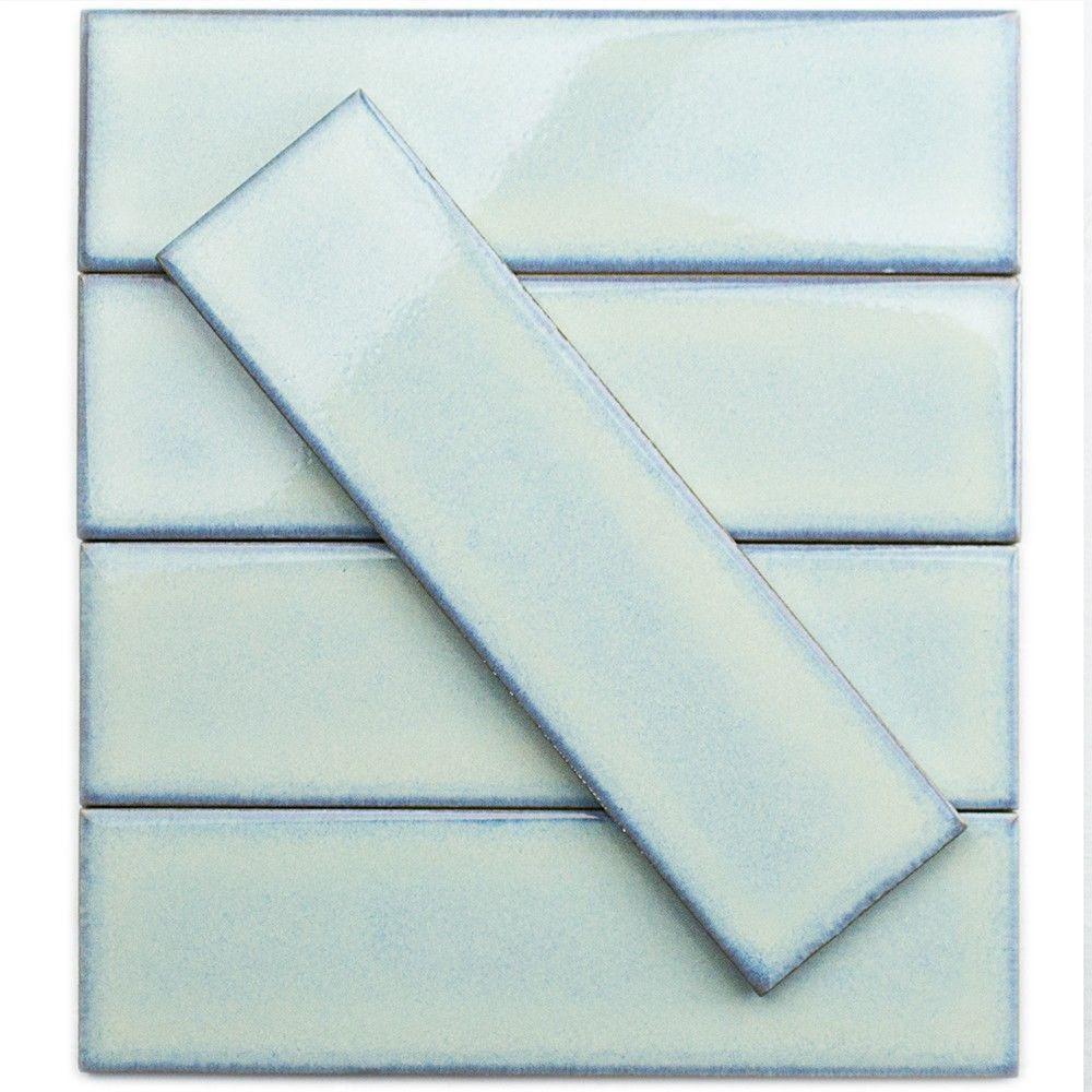 Splashback Tile Vintage Light Blue 3 in. x 9 in. x 8 mm Ceramic Wall ...