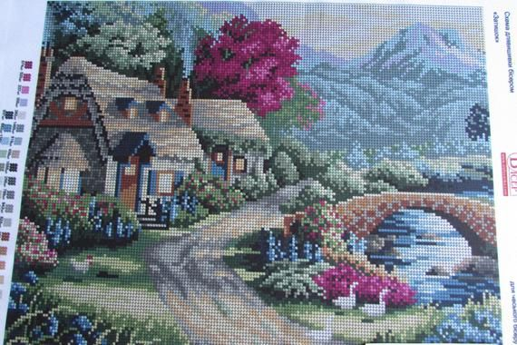 Hand Knitting Print Cross Stitch Embroidery Set 11CT Flower Pattern 36*36cm Home