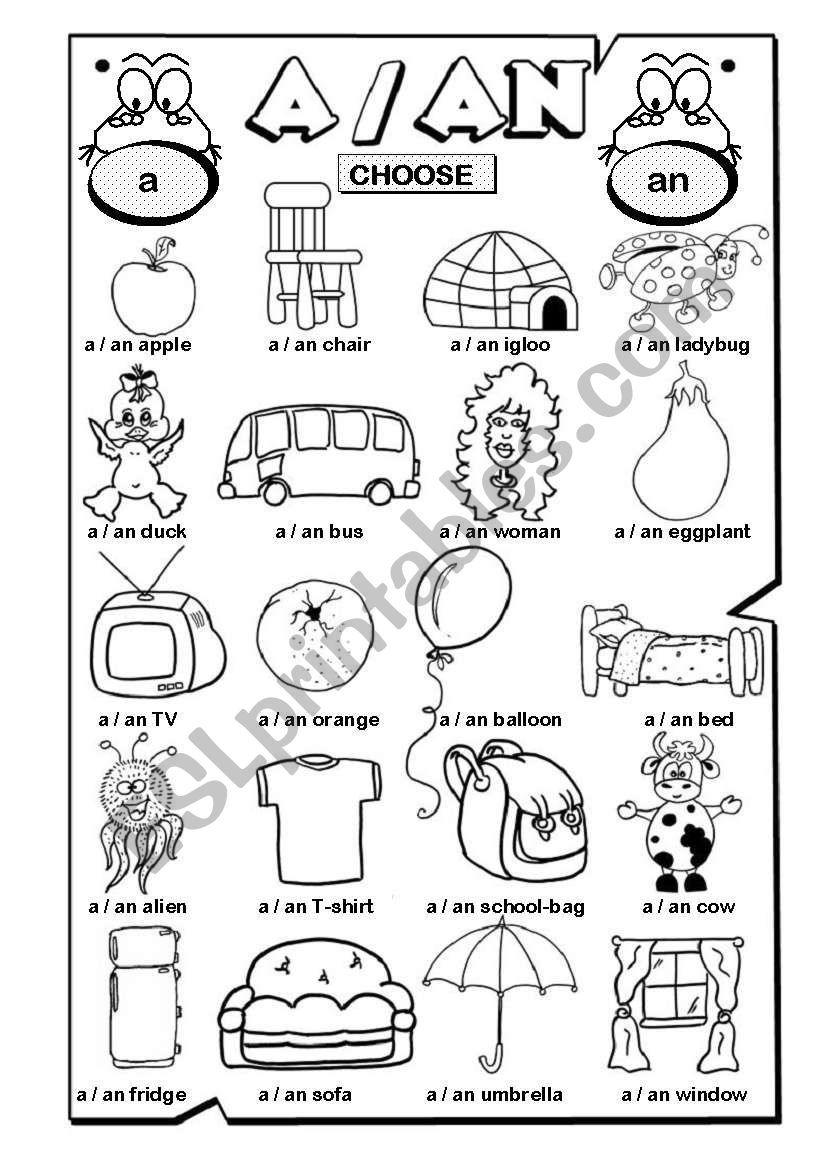 A / AN (1/2) worksheet Grammar worksheets