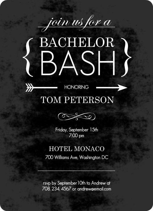 Chalk Board Black Bachelor Party Invitation by PurpleTrailcom
