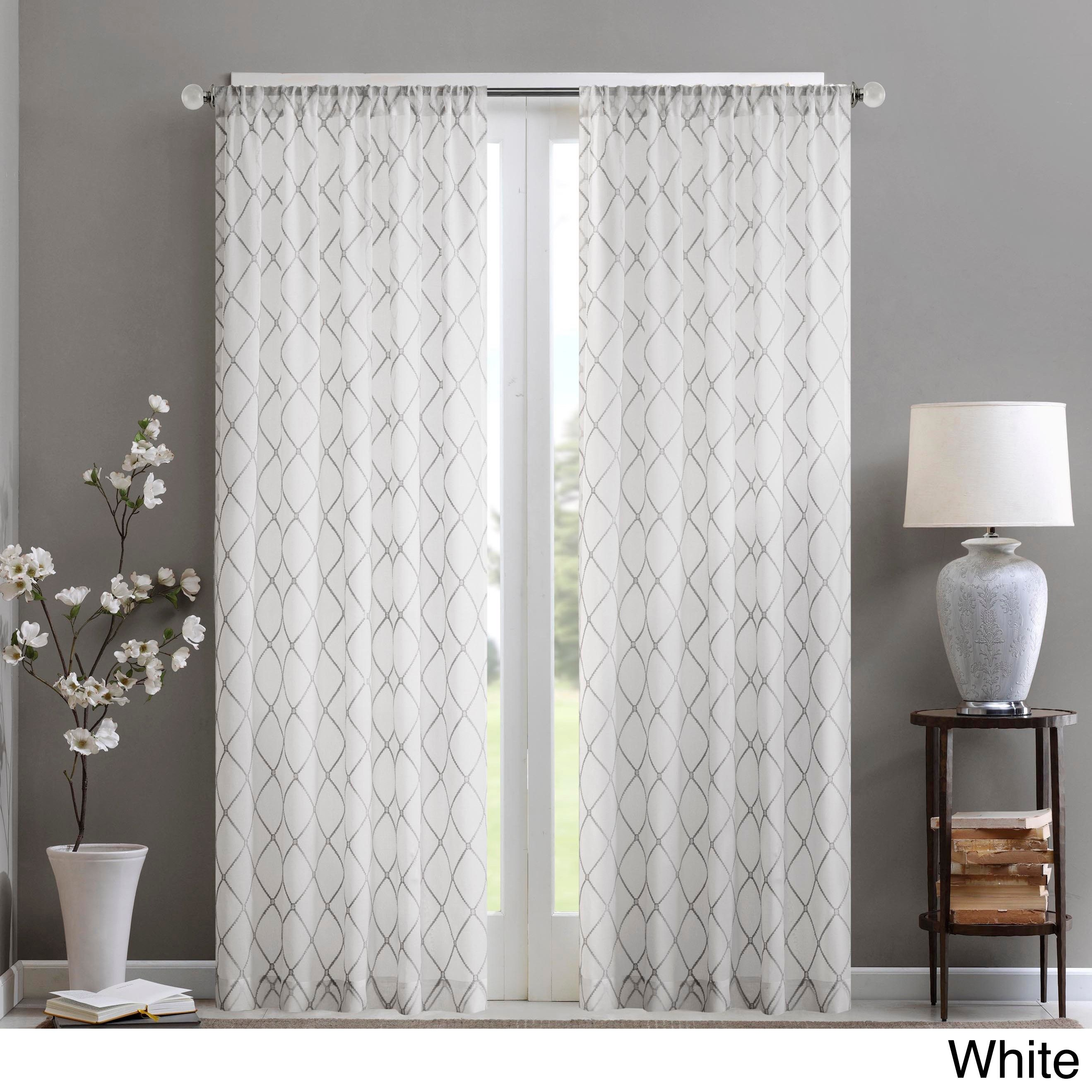 Madison park iris embroidered diamond sheer curtain panel for Patterned sheer curtain panels