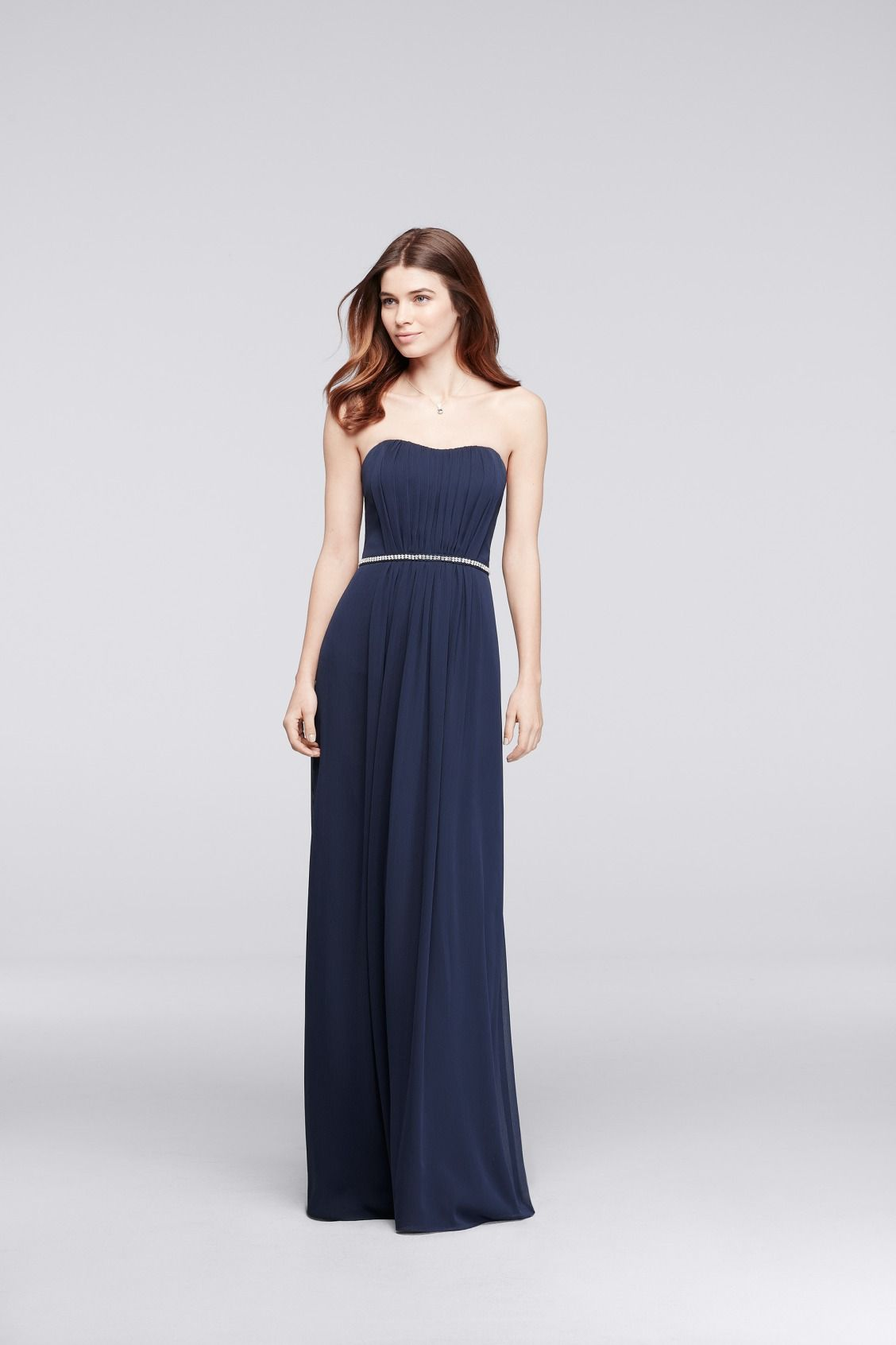 Long Strapless Bridesmaid Dress with Beaded Belt in Marine available ...