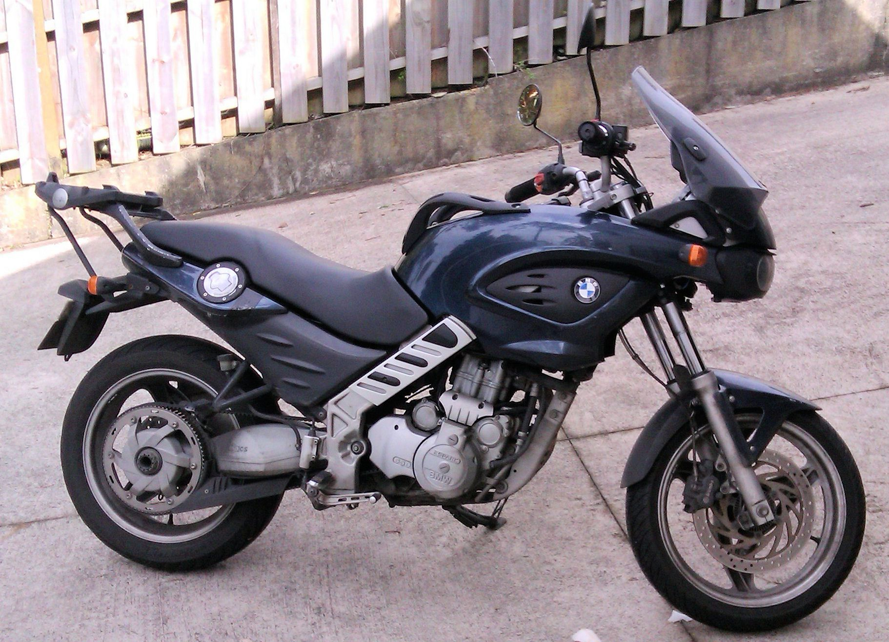 BMW F650 CS 'Scarver'. The fuel tank is under the seat so in the place  where the fuel tank would normally be is a 'stuff-bay' - a most useful  addition to ...