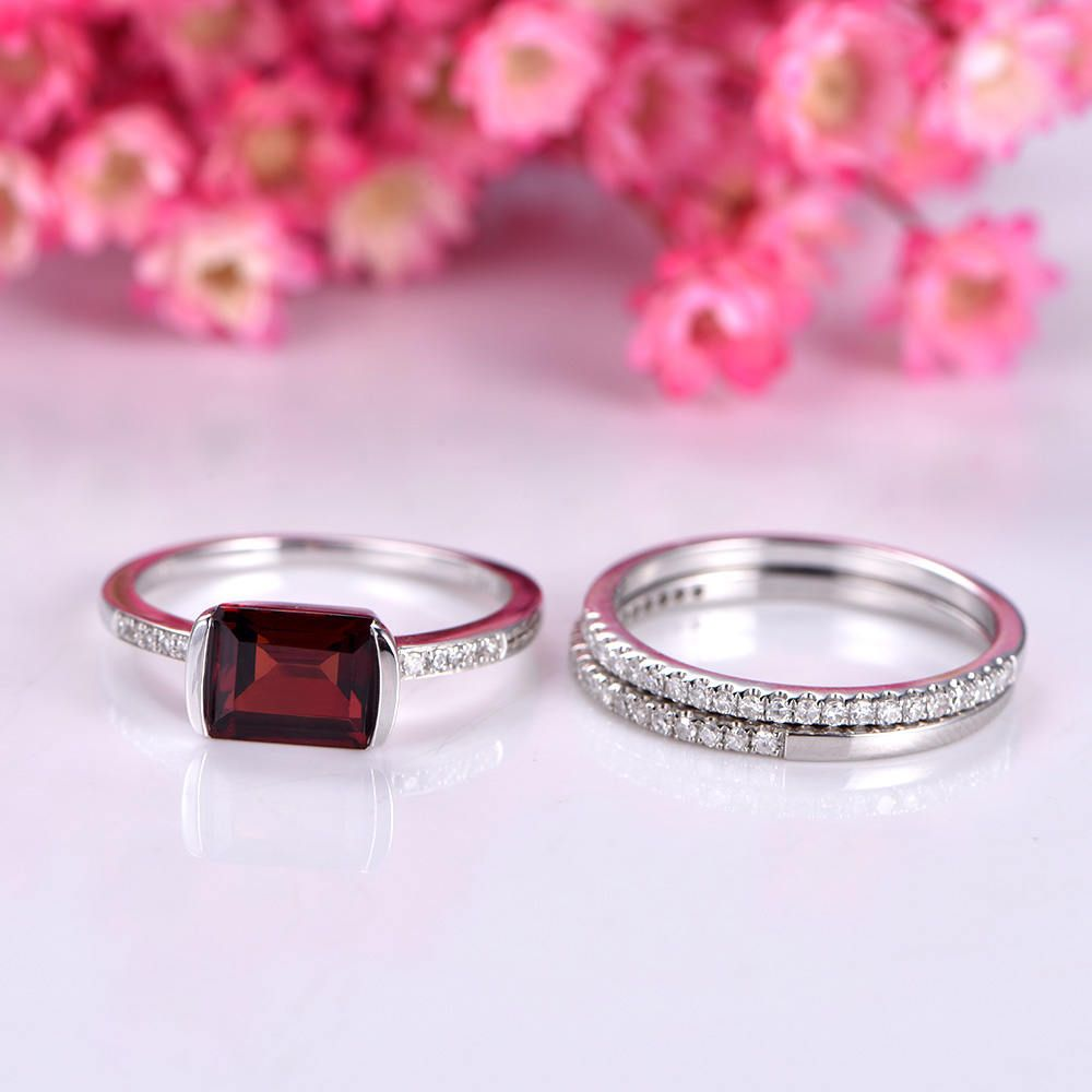 Garnet ring set garnet engagement ring half eternity diamond wedding ...