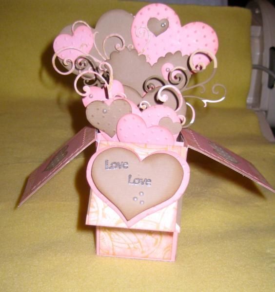 CARD IN A BOX PINK HEARTS by Glamour - Cards and Paper Crafts at Splitcoaststampers