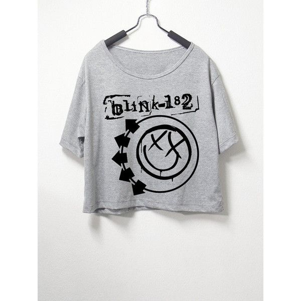 Blink 182,crop top, grey color, women crop shirt, screenprint tshirt,... (€14) ❤ liked on Polyvore