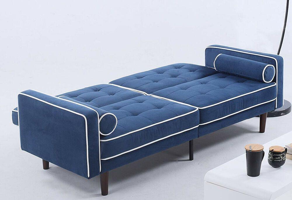 Incredible Sofa Bed Convertible Sleeper Loveseat Blue Velvet Tufted Lamtechconsult Wood Chair Design Ideas Lamtechconsultcom