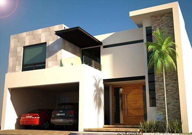 Fachada moderna de dos pisos decorada con piedras y con for Fachada de casas modernas con balcon