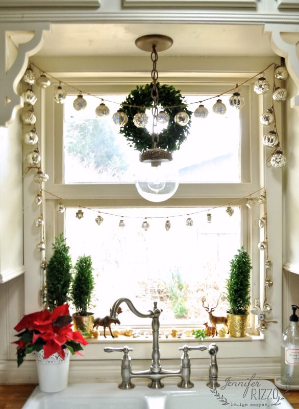 mercury glass ornament garland such a pretty christmas kitchen eclecticallyvintagecom - Pinterest Christmas Kitchen Decorating Ideas