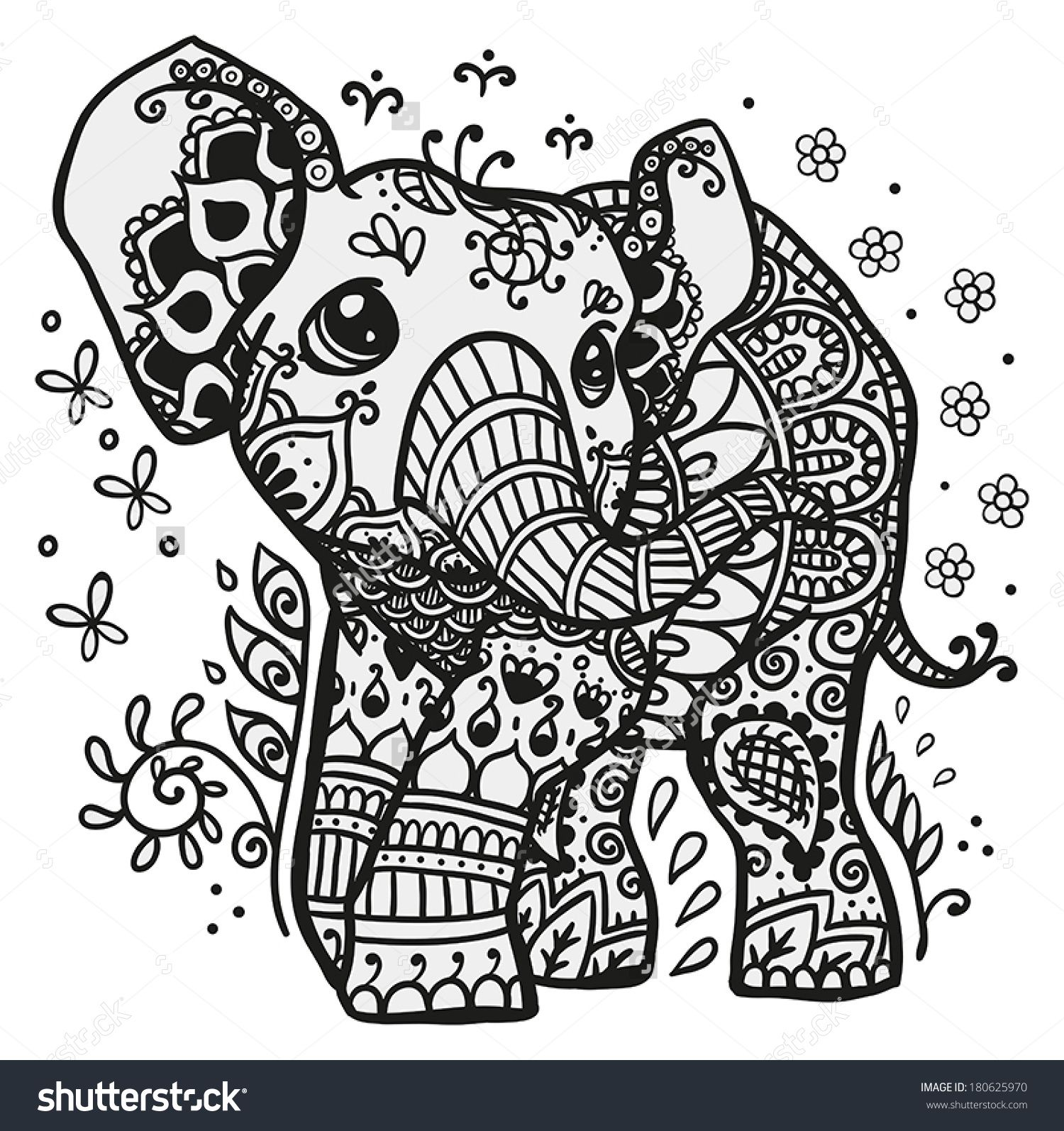 Black and white vector illustration of a baby elephant with mandala ...