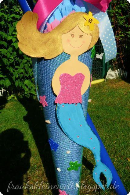 Meerjungfrau Schultüte, gebastelt aus Pappe und Stoff ...