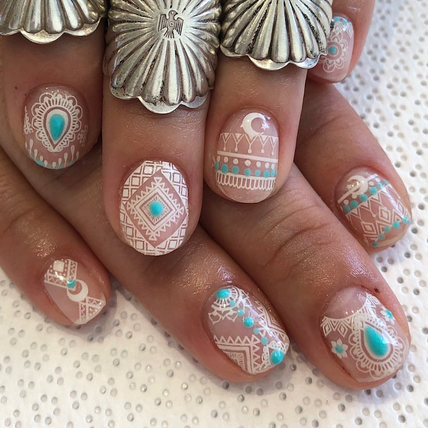 Intricate tribal turquoise nail art 499 Likes, 10 Comments - Vanity ...