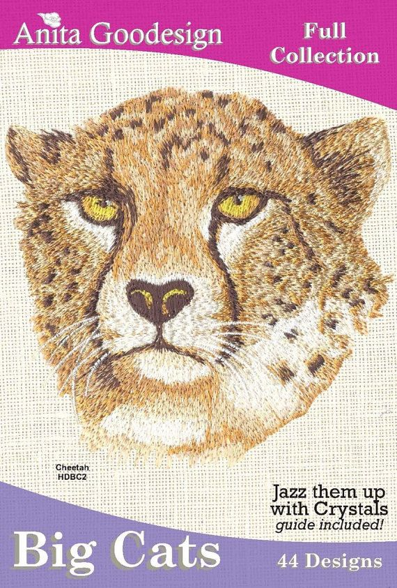 Anita Goodesign Embroidery  Collection,  Big Cats, 44 Designs, 4 sizes 5x5, 5x5 light fit, 6x6, 6x6 light fit, Pes  Instant Download von CreaInvento auf Etsy