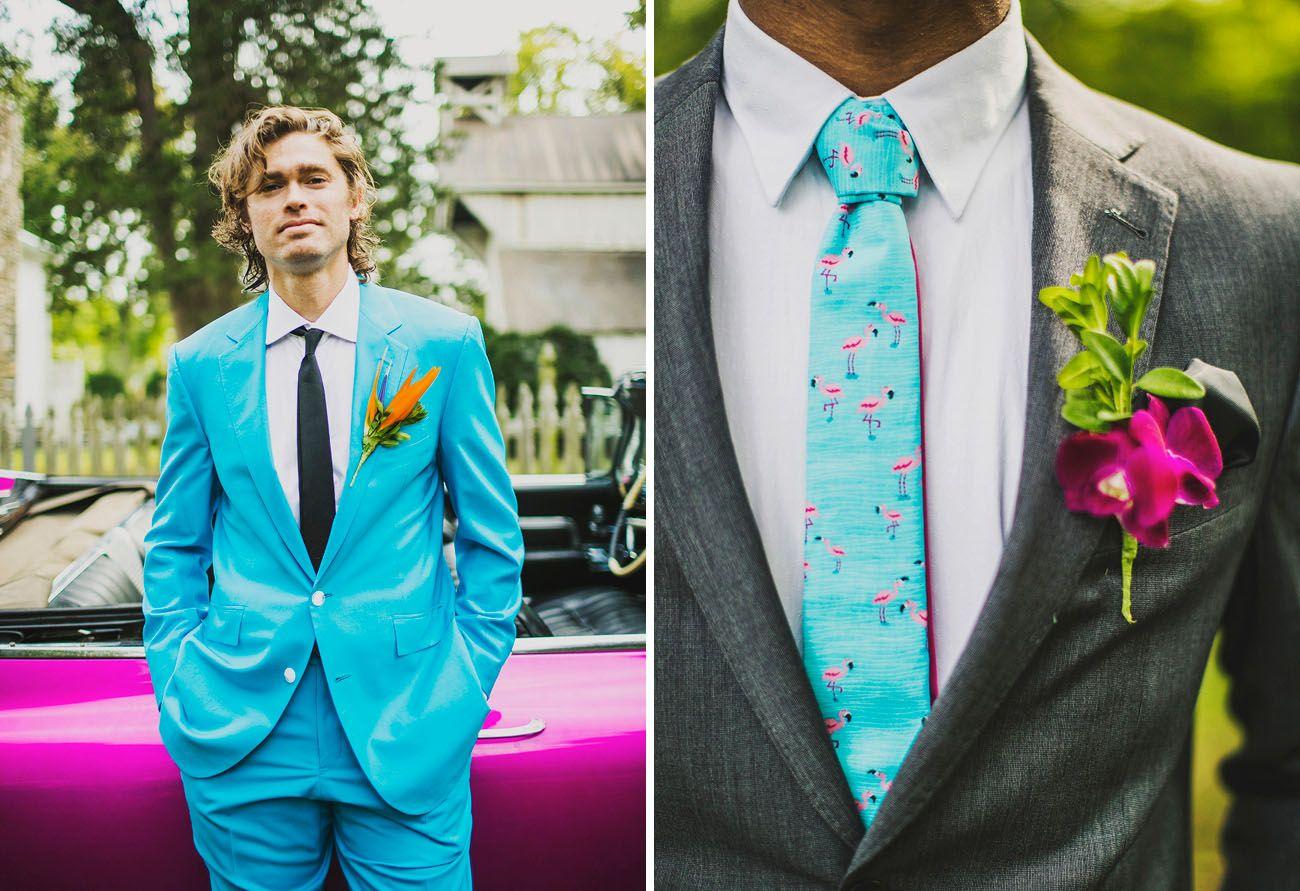 Fun Neon Nashville Wedding: Megan + Jesse | Electric blue suit ...