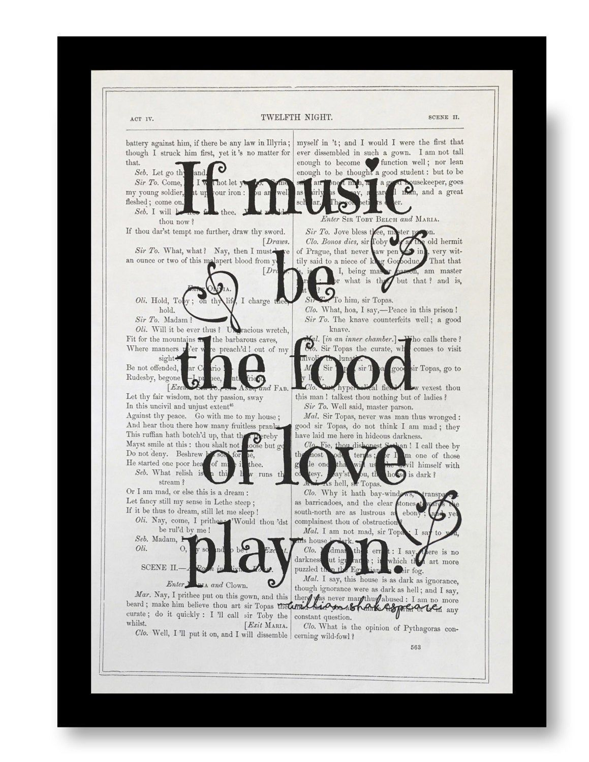 William Shakespeare Quote Print If Music Be The Food Of Etsy Quotes No Fear Hamlet Act 1 Scene 3