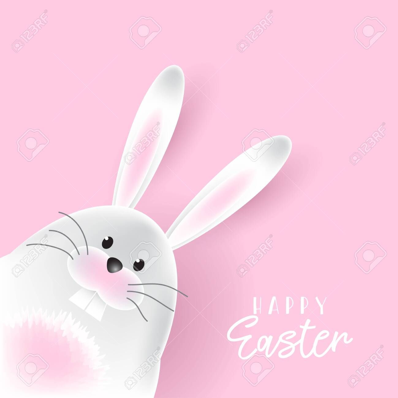 Easter Background With Cute Bunny Aff Background Easter Bunny Cute Easter Backgrounds Flower Typography Easter Bunny