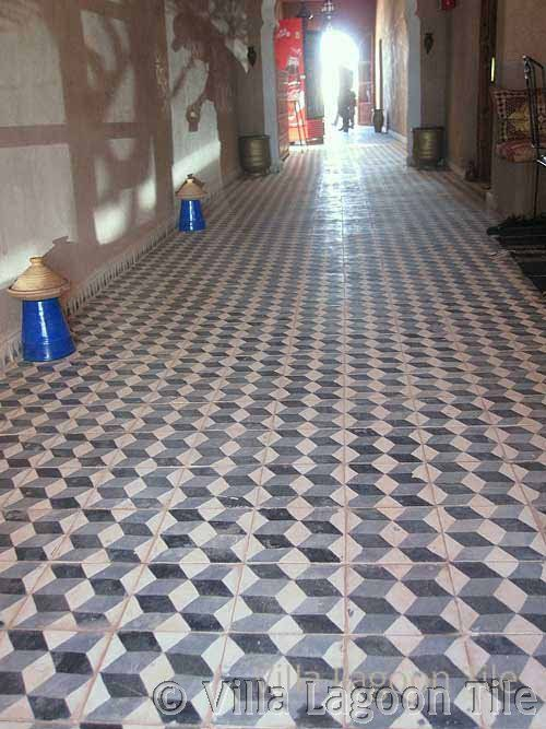 An antique Mexican cement tile floor,