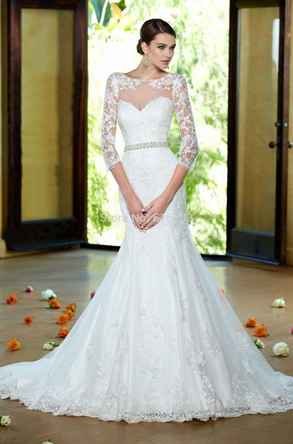trumpet lace wedding dress trumpet wedding dress New Arrival Wedding Dress With Long Sleeves Long Train