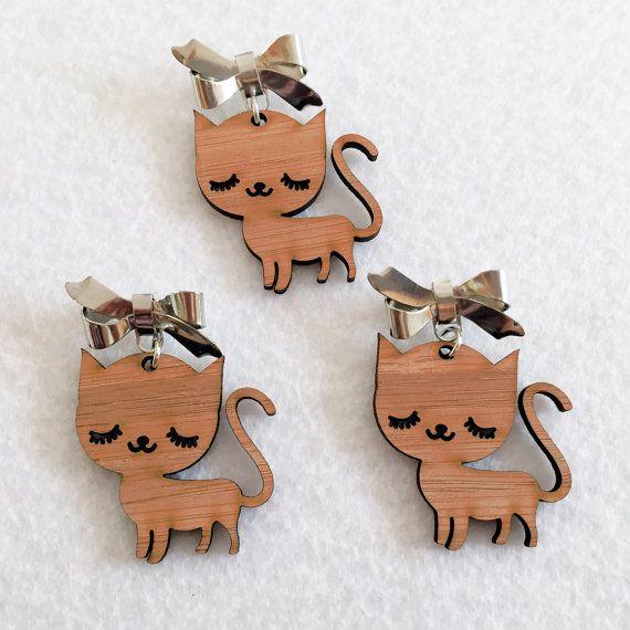 Items similar to Sleepy Kitty Brooch - Wooden Bamboo Pin on Etsy