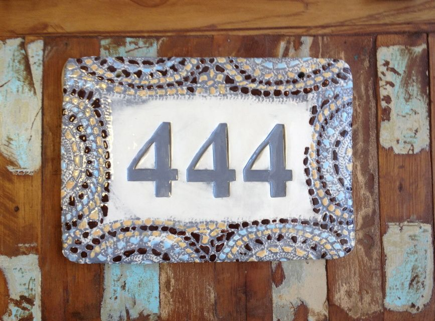 Gray Mosaic Print House Number - hand crafted house number tile created by artists at In God We Trust Ceramics Co. www.ingodwetrustceramics.com